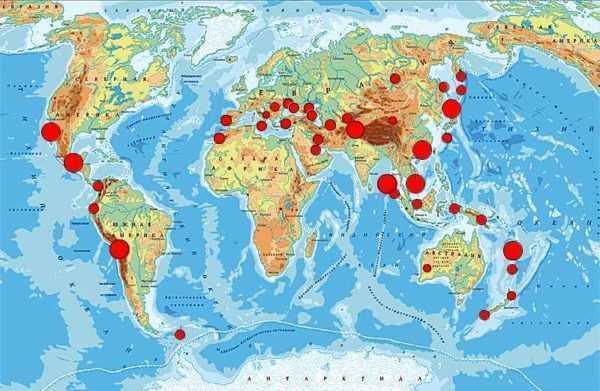 Вулканы на карте