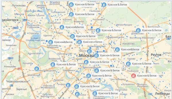 Карта расположения магазинов